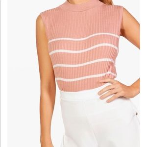 Striped knit sleeveless top